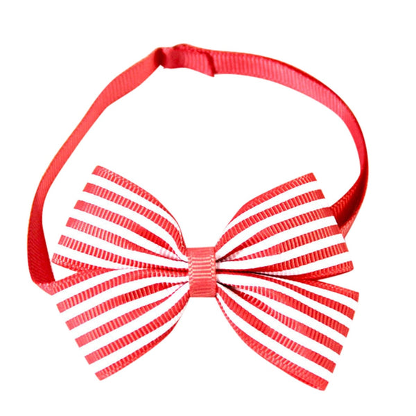 Retractable fashion striped pet bow tie pet collar dog collar