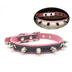 Adjustable Pet Dog Collar Leash leather Reflective for Bone Neck Strap
