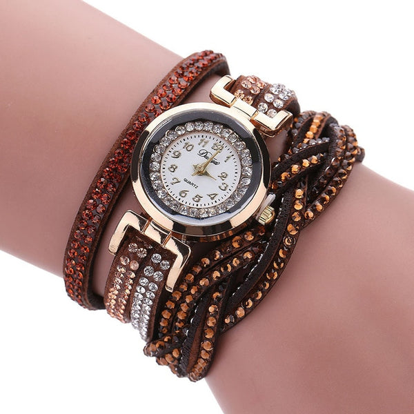 Women Luxury Crystal Gold Bracelet Quartz Wrist watches