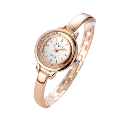 Fashion Ladies Unisex Stainless Steel Rhinestone Quartz WristWatch