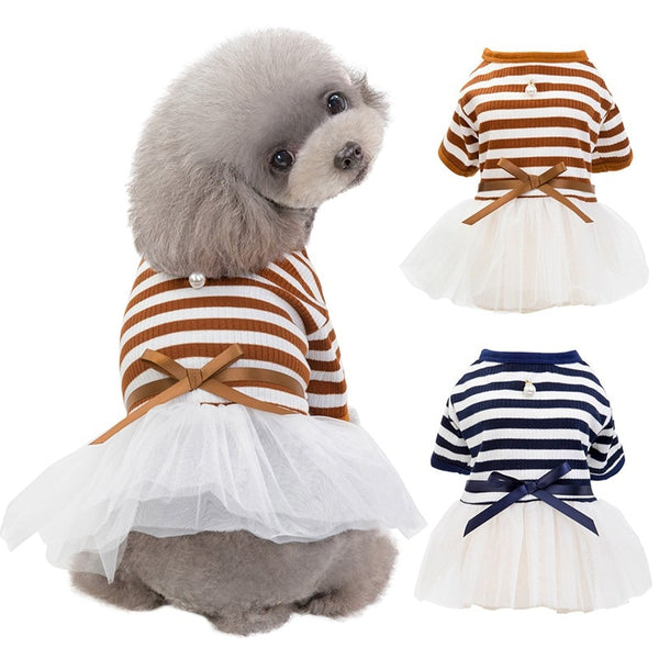 Pet Dog Stripes Pearls Gauze Tutu Dress Skirt Puppy Cat