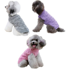 Dog Sweater Crochet Knit  Clothes Warm Jacket Coat Pullover