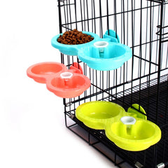 Nice Plastic Double Using Pet Feeder For Feed And Drinking Non-toxic