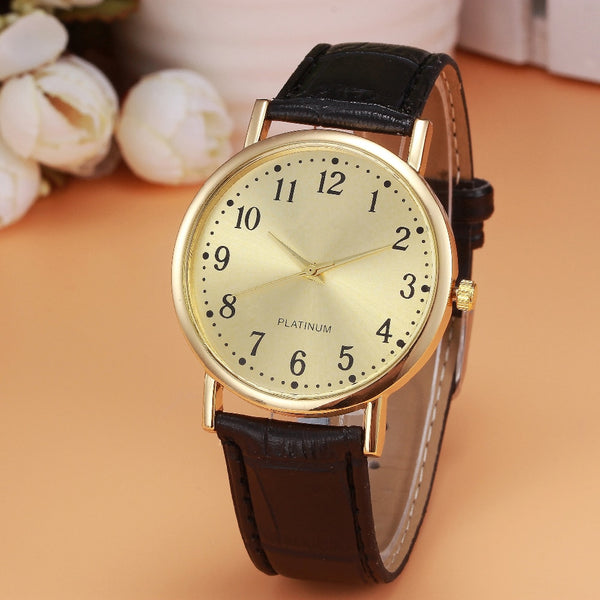 Women Mens Retro Design Sports Clock Leather Business Quartz Wrist Watches