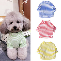 Pet Dog Puppy Vest T-shirt  Clothes Striped Apparel Spring