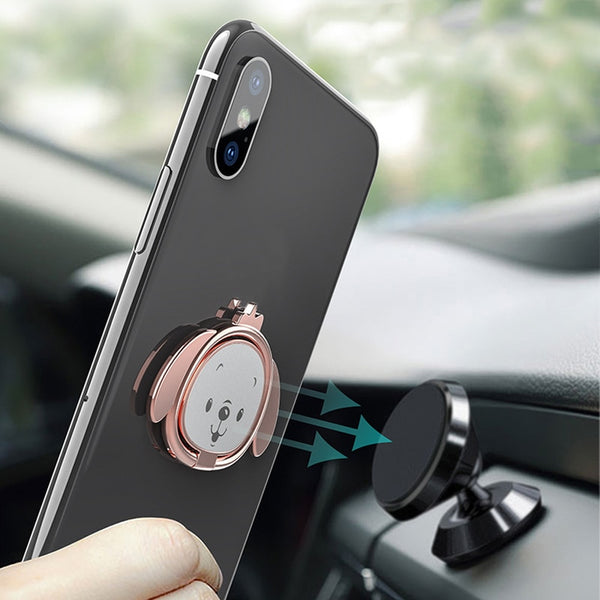 Electroplating Magnetic Ring Universal Car Cute Dog 360 Degrees Mobile Phone Bracket