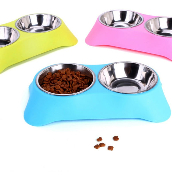 Stainless Steel Double Pet Bowls For Dog Puppy Cats Food Water Feeder