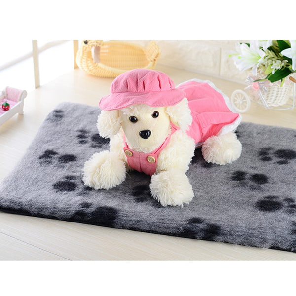 Cute Pet Beds Mat Sleep Warm Paw Print Dog Cat Puppy Soft Blanket