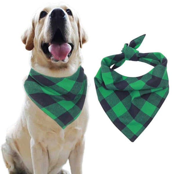 Pet Dog Cotton Scarf Gree Grid  Cats Grooming Accessories