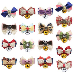 For Puppy Pet Spring Princess Bowknot Collar with Silvery Golden Bell