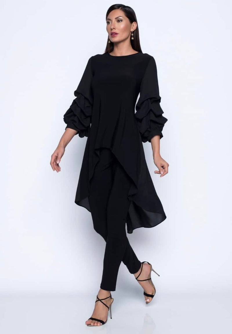 Frank Lyman - Ruffled High-Low Tunic
