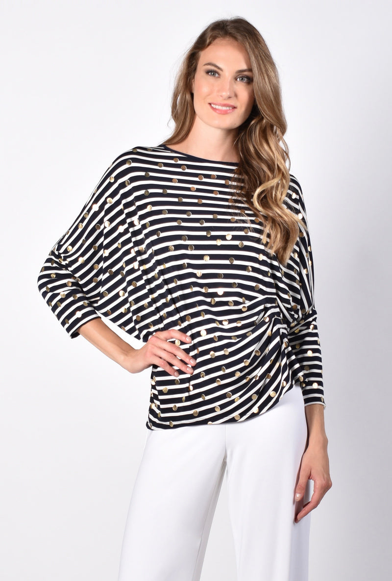 Frank Lyman - Striped Tunic with Gold Accents