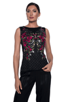 Frank Lyman - Embroidered Floral Mesh Blouse