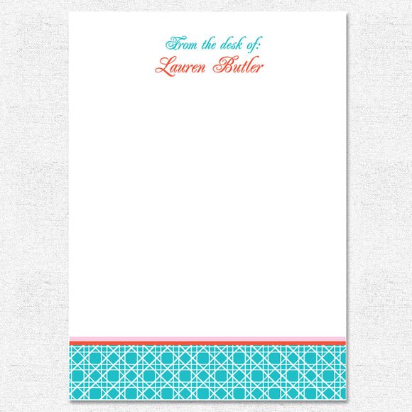 Teal Caning Notepad