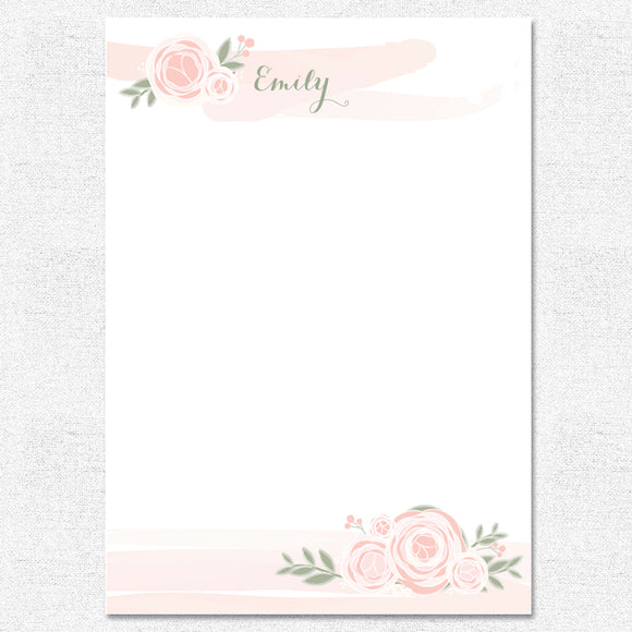 Coral Watercolor Ranunculus Notepad