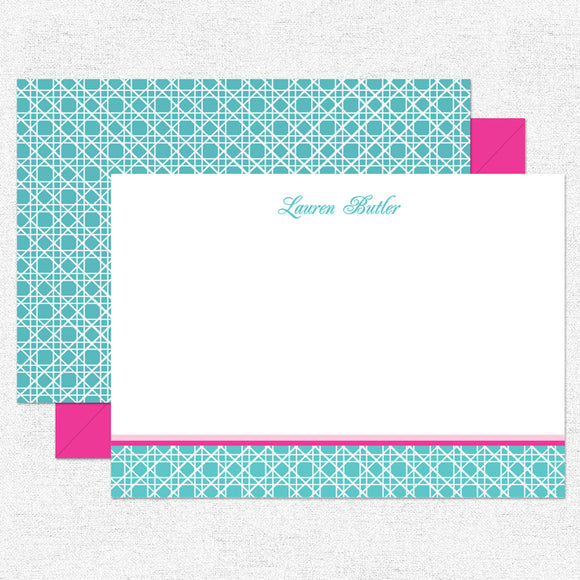 Teal Caning Stationery