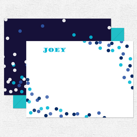 Blue Confetti Stationery