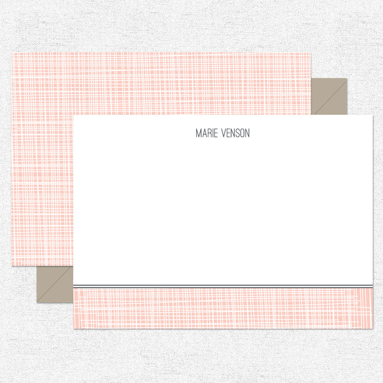 Coral Linen Stationery