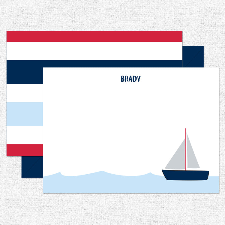 Sailboat Red Stationery