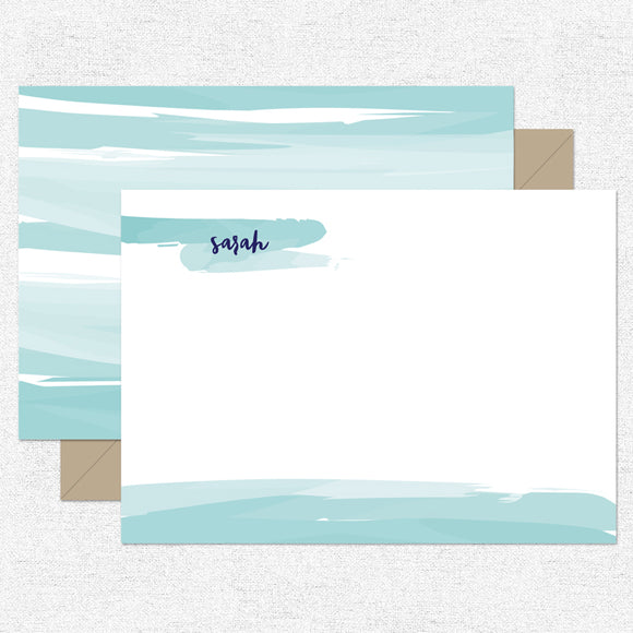 Blue Watercolor Stationery