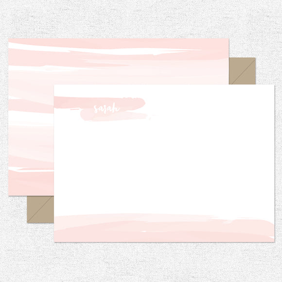 Coral Watercolor Stationery