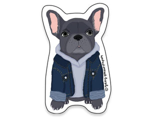 Hipster Frenchie Sticker