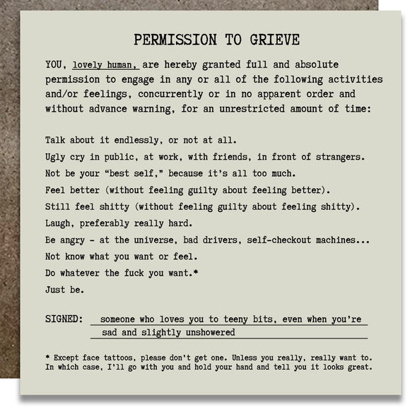 Permission to Grieve Card