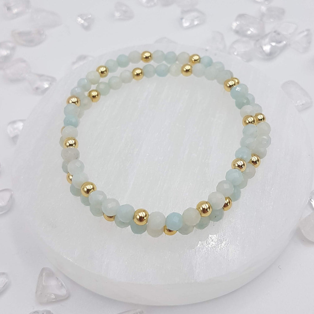 Faceted Amazonite Double Wrap Bracelet