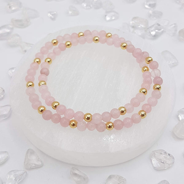 Rose Quartz Double Wrap Bracelet
