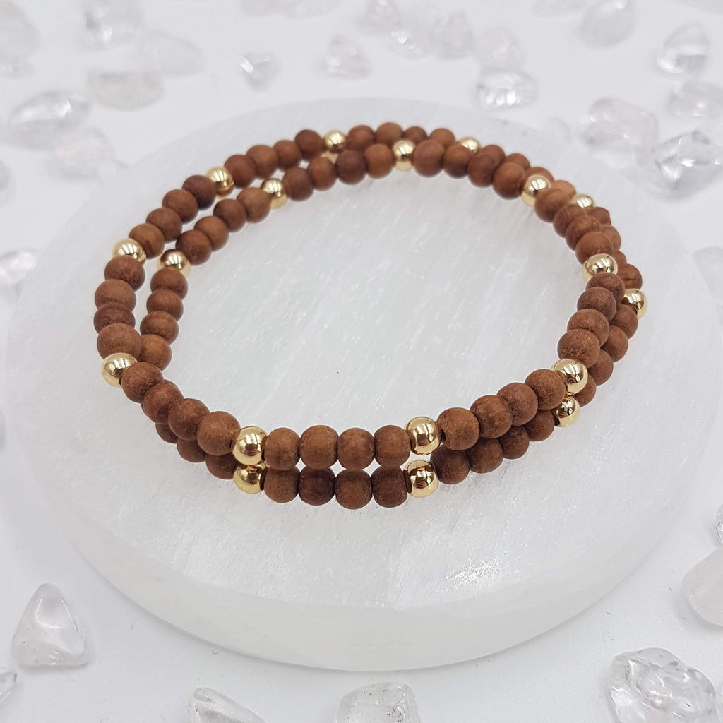 Sandalwood Double Wrap Bracelet