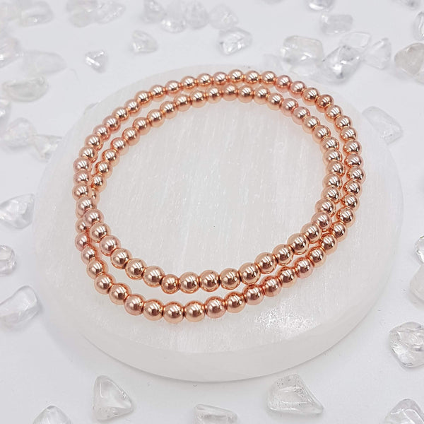 Rose Gold Hematite Double Wrap Bracelet