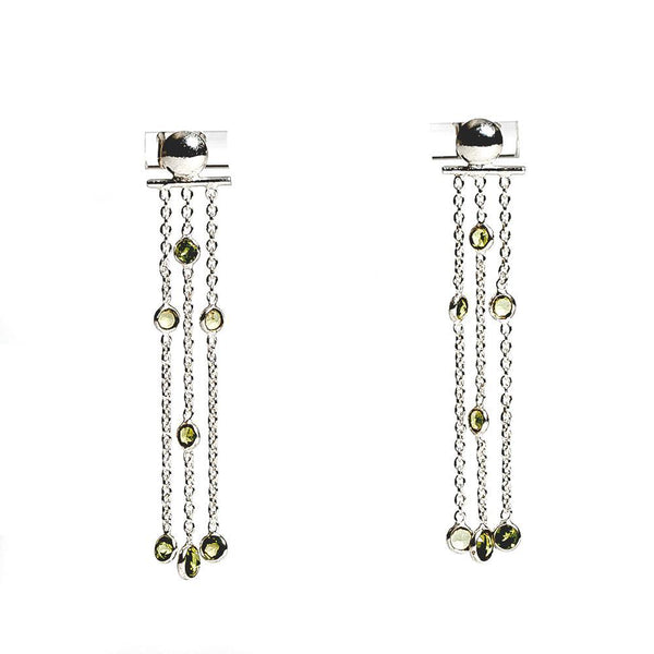 Air Earrings - Silver & Peridot