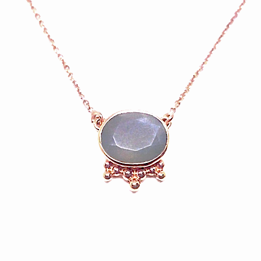 rose gold grey moonstone necklace indian inspired crystal gemstone