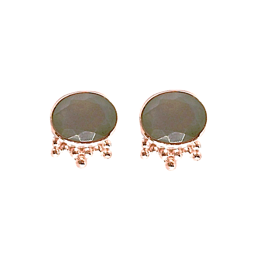 Aniari Studs - Grey Moonstone & Rose Gold