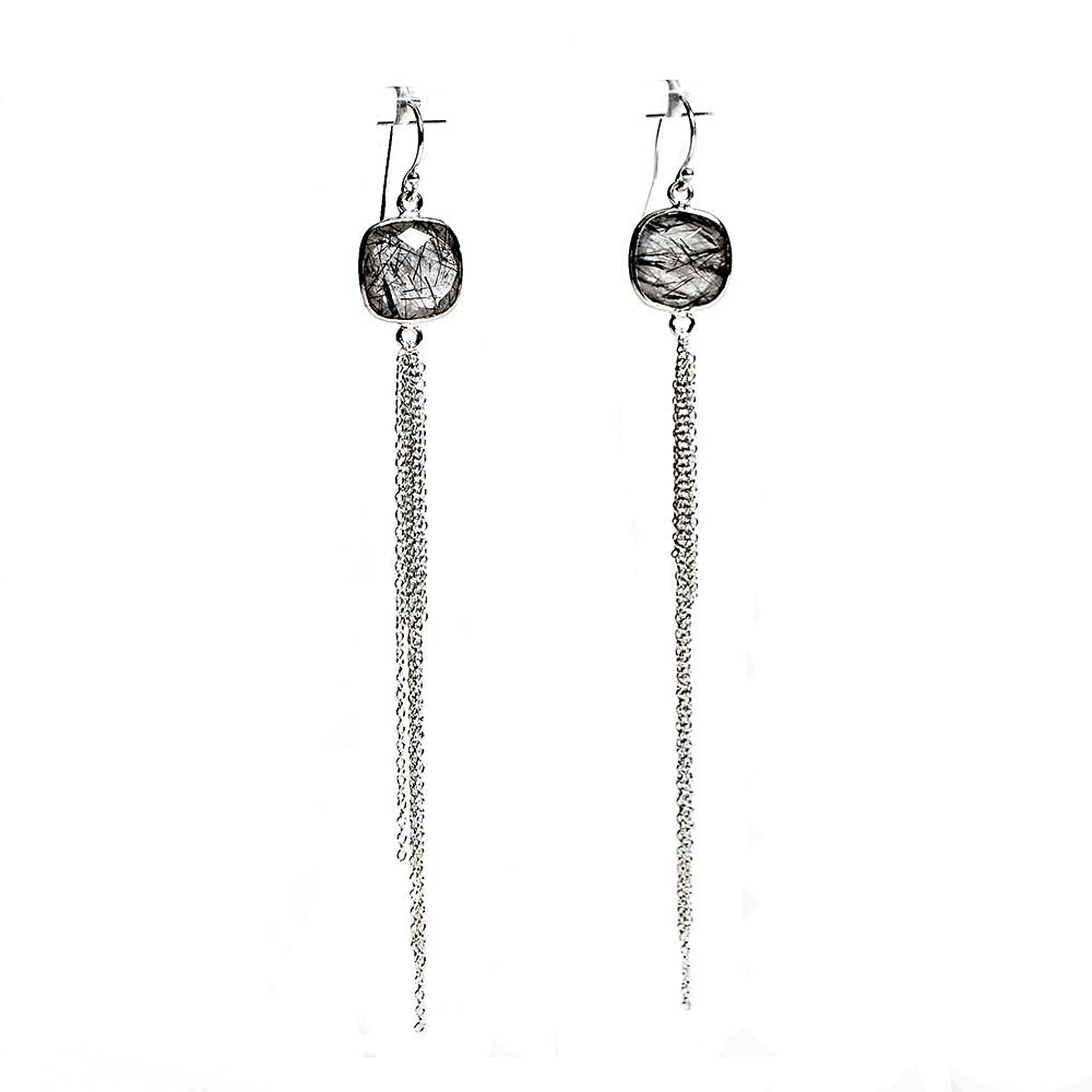 Aurora Earrings - Silver & Rutilated Quartz