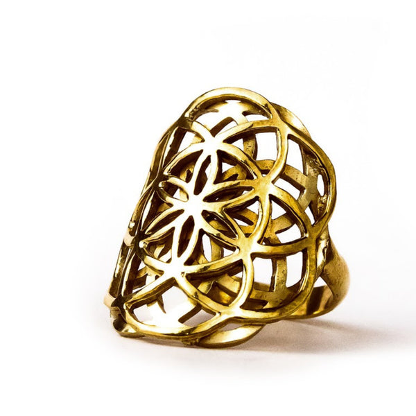 Creation seed of life sacred geometry ring brass size 6 size 7 size 8