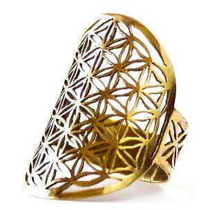 Flower of Life ring brass sacred geometry size 6 size 7 size 8