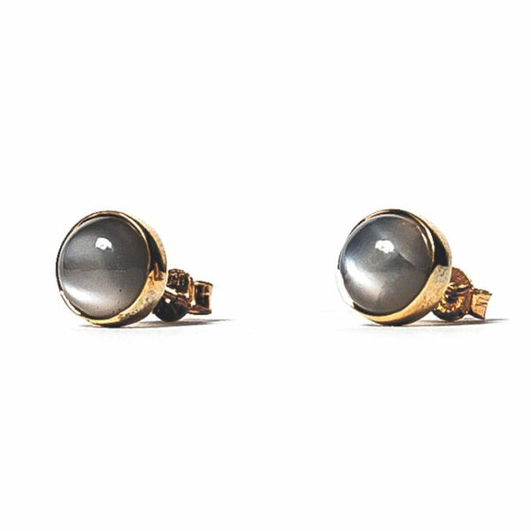 Grey Moonstone Studs - Brass