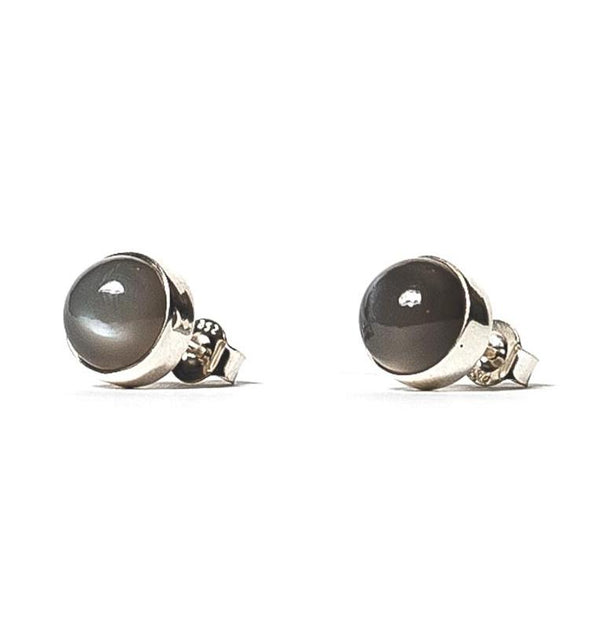 Grey Moonstone Studs - Silver