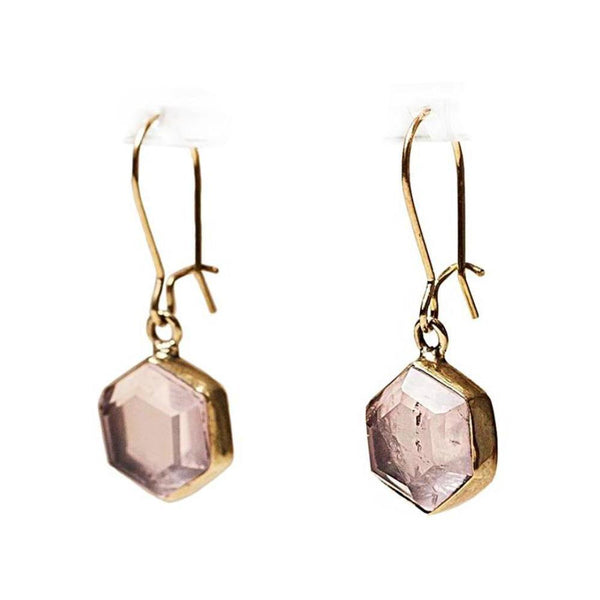 Honeybee Drop Earrings - Rose Quartz & Brass