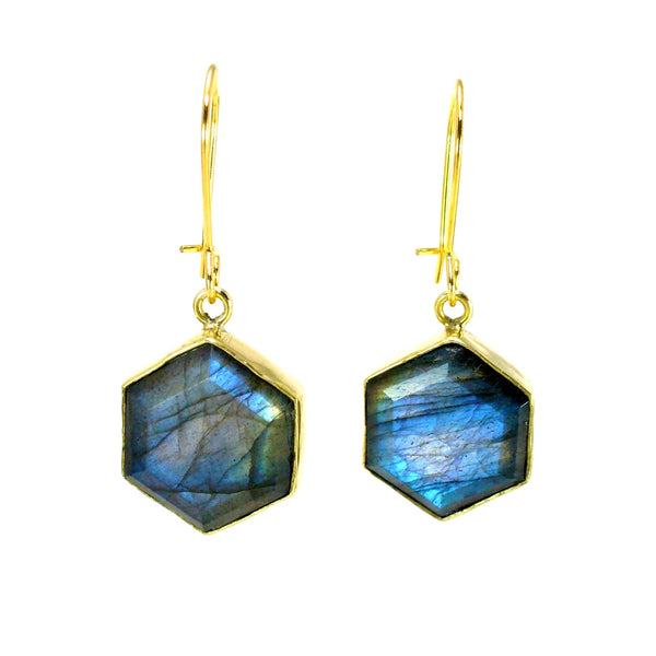 Honeybee Drop Earrings - Labradorite & Brass