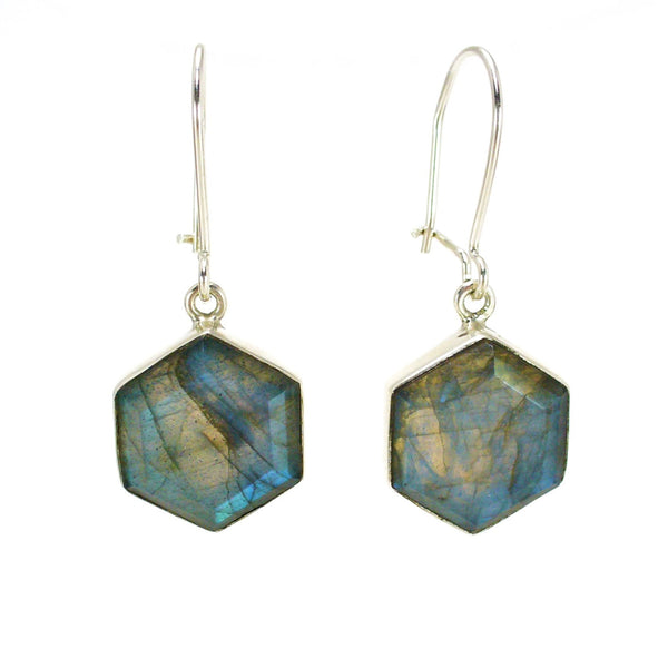 Honeybee Drop Earrings - Labradorite & Silver