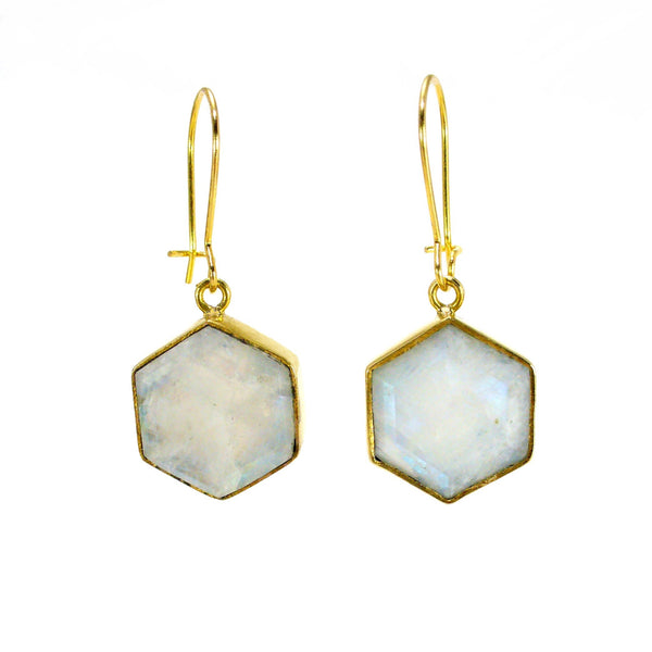 Honeybee Drop Earrings - Moonstone & Gold