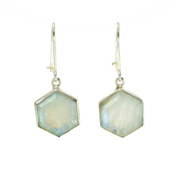Honeybee Drop Earrings - Moonstone & Silver
