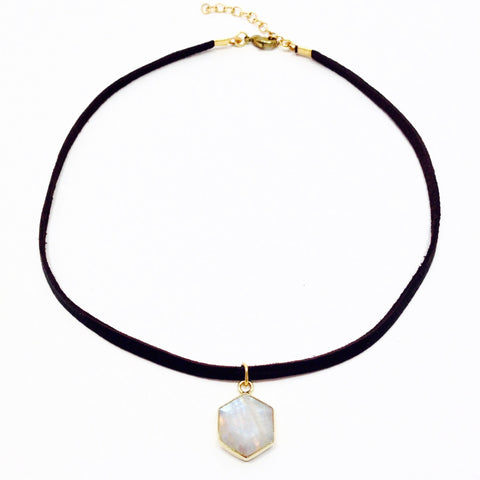 Honeybee Choker - Moonstone & Brass