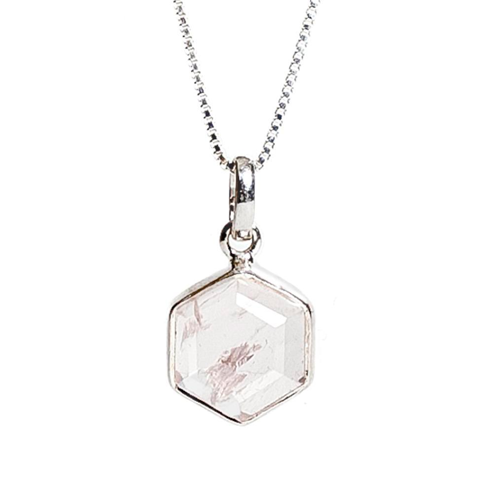 Honeybee Necklace - Rose Quartz & Silver