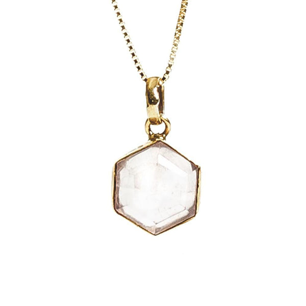 Honeybee Necklace - Rose Quartz & Gold