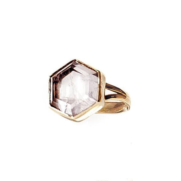pink rose quartz hexagon step cut ring