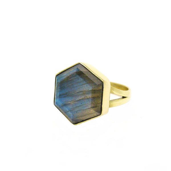 Honeybee Ring - Labradorite & Gold