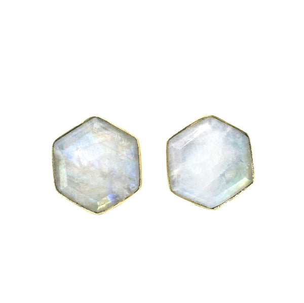 Honeybee Studs - Moonstone & Gold